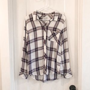 Rails Plaid Flannel Red White Button Down Large